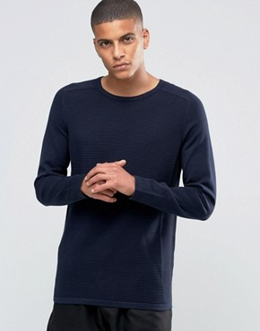 Selected Homme Ribbed Raglan Crew Neck