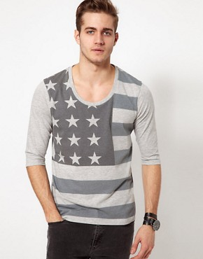 Image 1 ofASOS 3/4 Sleeve T-Shirt With Flag Print And Deep Scoop