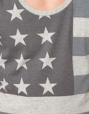 Image 3 ofASOS 3/4 Sleeve T-Shirt With Flag Print And Deep Scoop