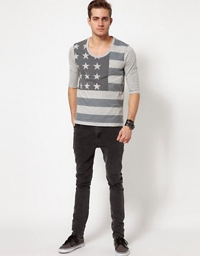 Image 4 ofASOS 3/4 Sleeve T-Shirt With Flag Print And Deep Scoop