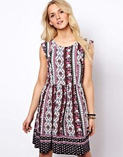 ASOS Smock Dress In Floral And Paisley Border Print