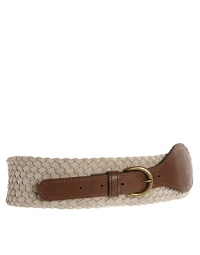 Image 1 of Pieces Hakan Suede Braided Waist Belt