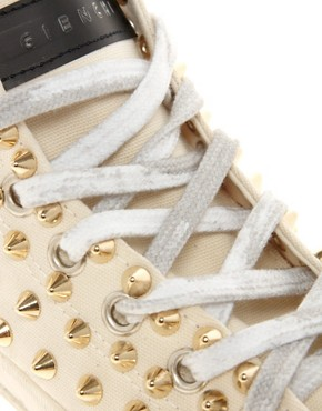 Image 2 ofGienchi Gapo Gold Studded High Top Trainers