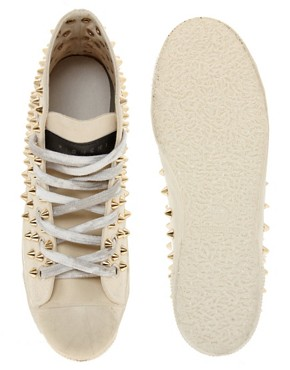 Image 3 ofGienchi Gapo Gold Studded High Top Trainers