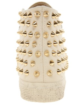 Image 4 ofGienchi Gapo Gold Studded High Top Trainers