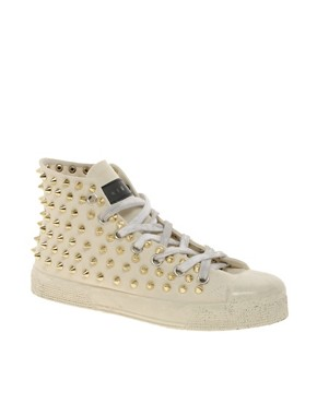 Image 1 ofGienchi Gapo Gold Studded High Top Trainers