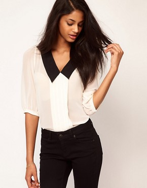 Image 1 ofASOS Blouse With Pintucks And Contrast Collar