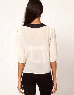Image 2 ofASOS Blouse With Pintucks And Contrast Collar