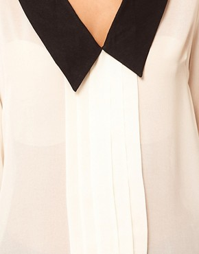 Image 3 ofASOS Blouse With Pintucks And Contrast Collar