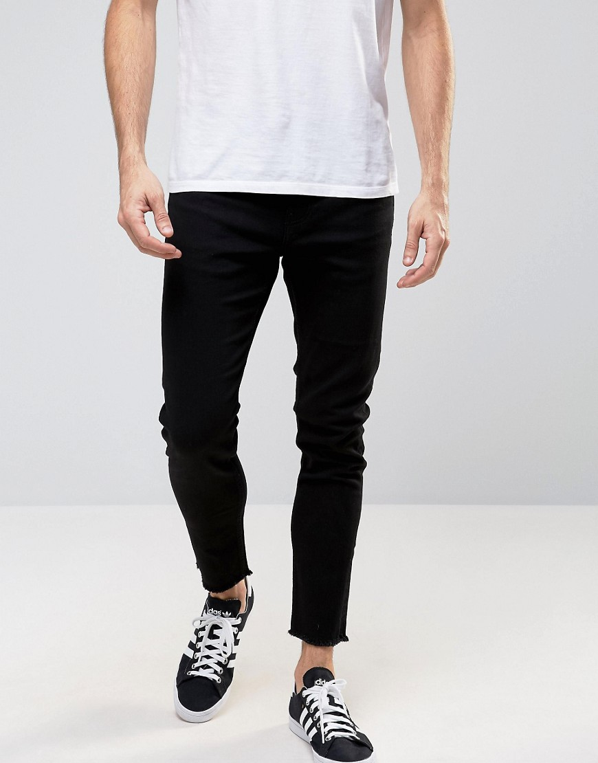 Only & Sons Skinny Jeans with Raw Edge - Black