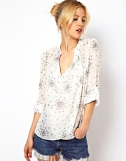ASOS Blouse With Drop Collar In Dotty Digits Print