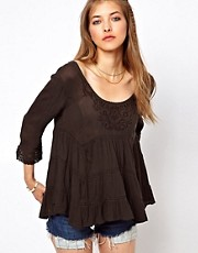 Free People Rayon Gauze Novella Top