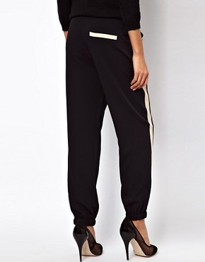 Image 2 ofASOS PETITE Exclusive Contrast Detail Cuffed Trousers