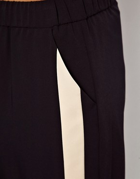 Image 3 ofASOS PETITE Exclusive Contrast Detail Cuffed Trousers