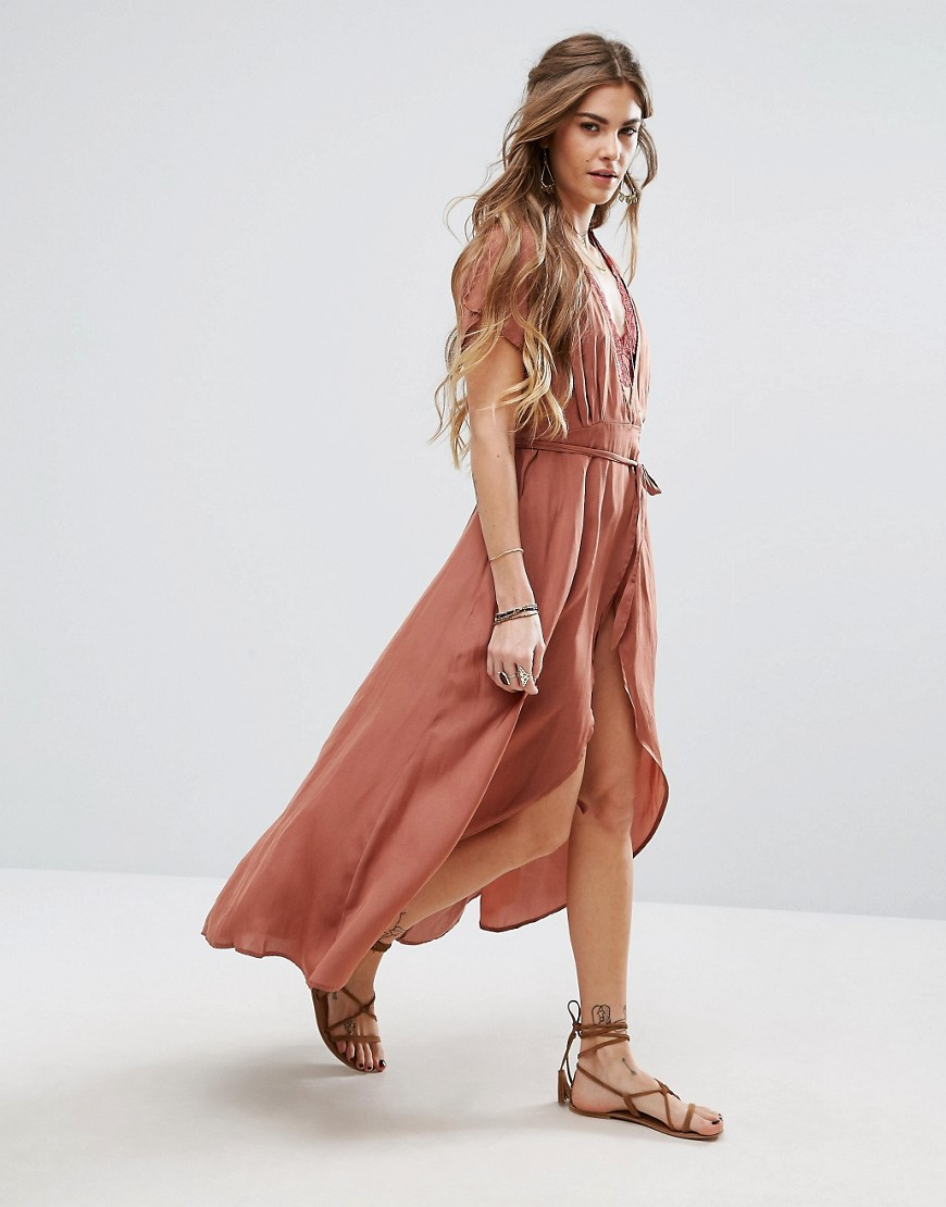 Honey Punch Wrap Front Tea Dress - Pink