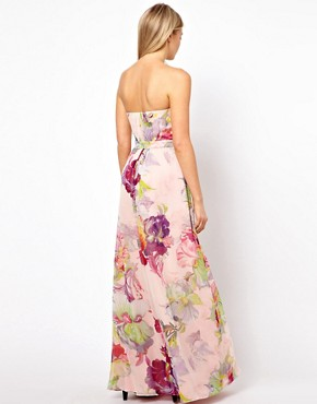 Image 2 ofTed Baker Bandeau maxi Dress in Treasured Orchid Print
