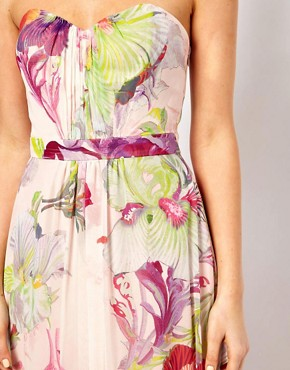 Image 3 ofTed Baker Bandeau maxi Dress in Treasured Orchid Print