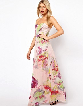 Image 4 ofTed Baker Bandeau maxi Dress in Treasured Orchid Print