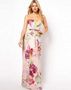 Image 1 ofTed Baker Bandeau maxi Dress in Treasured Orchid Print