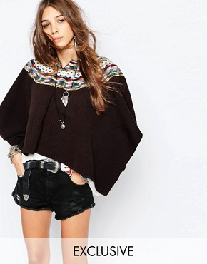 Hiptipico Handmade Cape with Multi Stripe Embroidery