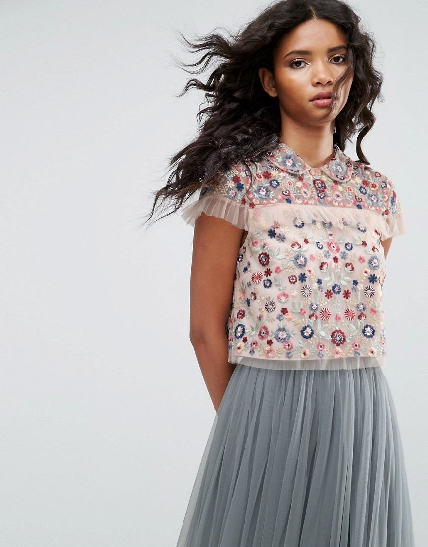 Needle & Thread Posy Embroidered Crop Top - Petal pink