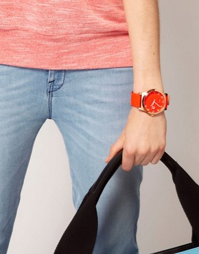 Image 3 ofMarc By Marc Jacobs Red Leather Strap Watch With Rose Gold Square Oval Face