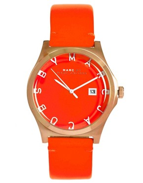 Image 1 ofMarc By Marc Jacobs Red Leather Strap Watch With Rose Gold Square Oval Face