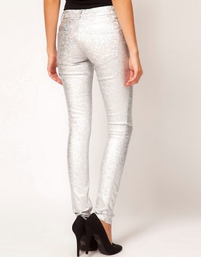 Image 2 ofASOS Skinny Jeans in Silver Metallic Hologram Print
