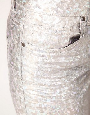 Image 3 ofASOS Skinny Jeans in Silver Metallic Hologram Print