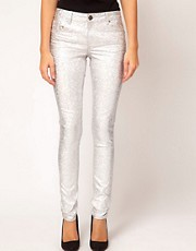 ASOS Skinny Jeans in Silver Metallic Hologram Print