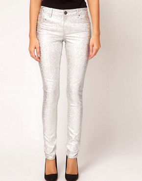 Image 1 ofASOS Skinny Jeans in Silver Metallic Hologram Print