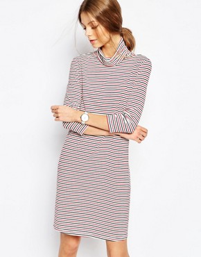 Selected Karly Striped High Neck Dress