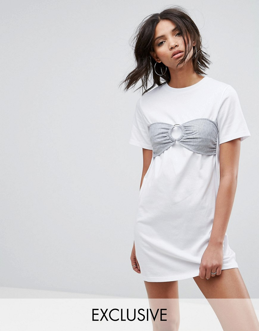 Urban Bliss Oversized T-Shirt Dress with Bra Top - White