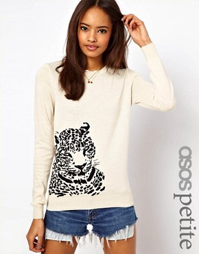 Image 1 ofASOS PETITE Exclusive Leopard Jumper