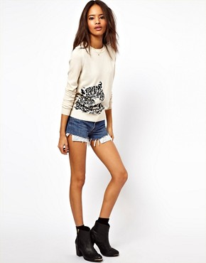 Image 4 ofASOS PETITE Exclusive Leopard Jumper