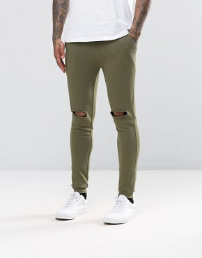 ASOS Super Skinny Joggers With Knee Rips In Khaki