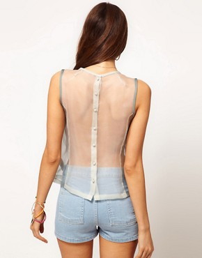 Image 2 ofASOS PREMIUM Silk Top With Metallic Embroidery