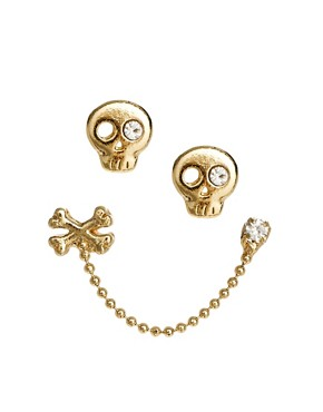 Image 1 ofLimited Edition Skull &amp; Stone Earrings