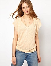 American Vintage Draped Slubby Tee With V Neck