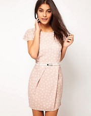 ASOS Mini Tulip Dress With Flute Sleeve In Floral Print