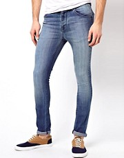 ASOS Super Skinny Jeans In Mid Blue
