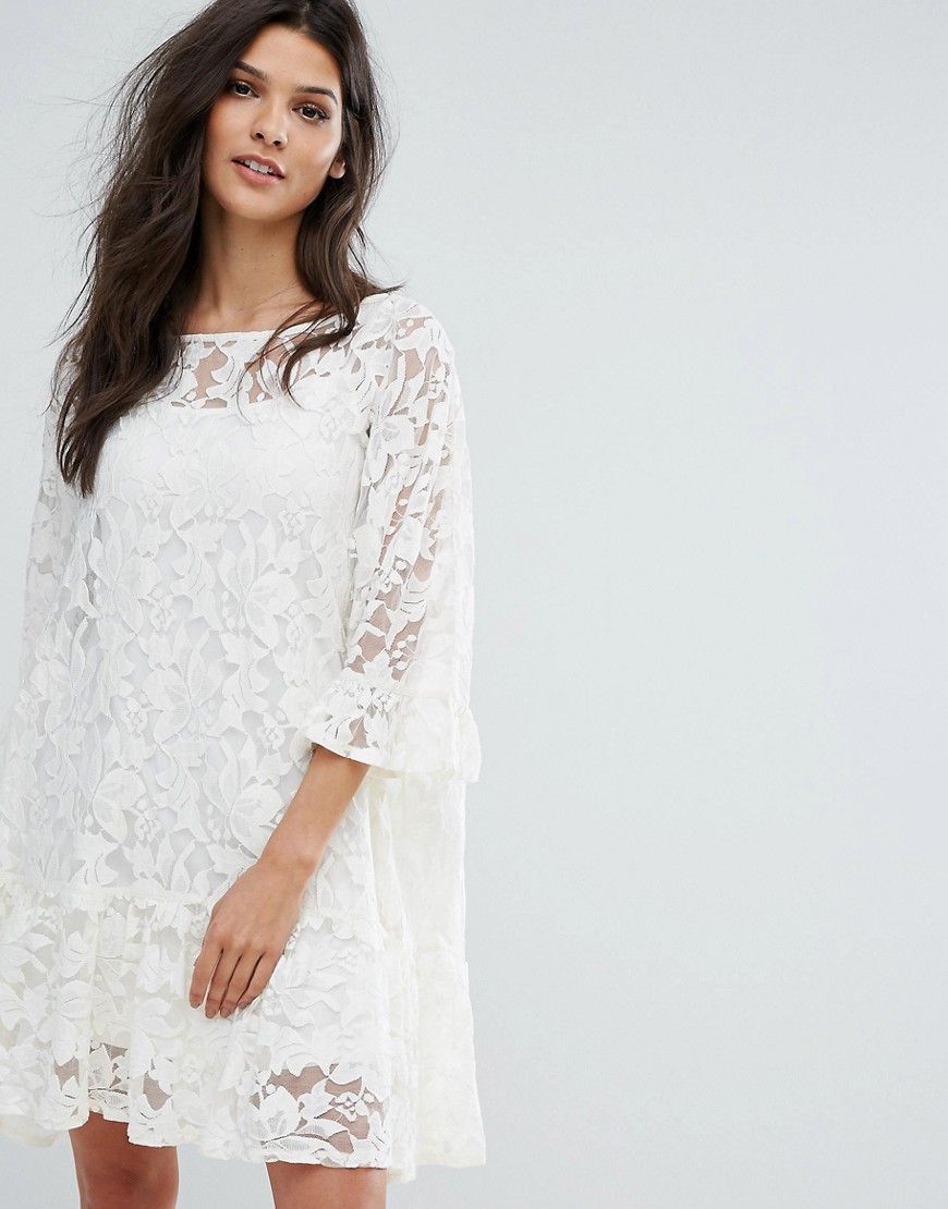Mango Lace Frill Hem Smock Dress - Cream