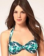 Image 1 ofASOS Leaf Print Halter Bikini Top