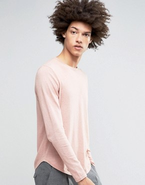 ASOS Cotton Jumper with Curved Hem in Pink