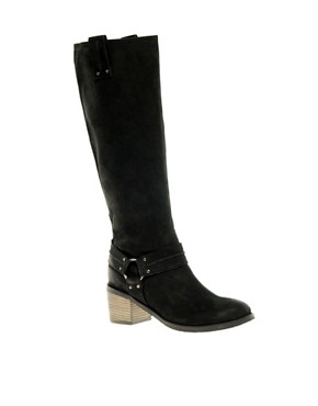Image 1 ofASOS CHOCOLATE CHIP Leather Knee High Boots with Mid Heel