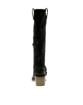 Image 4 ofASOS CHOCOLATE CHIP Leather Knee High Boots with Mid Heel