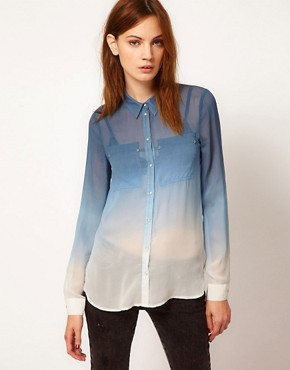 Image 1 ofWarehouse Ombre Western Silk Blouse