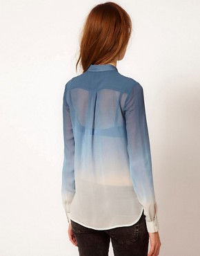 Image 2 ofWarehouse Ombre Western Silk Blouse