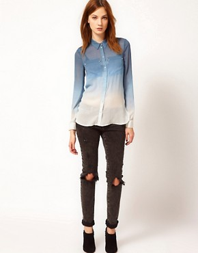 Image 4 ofWarehouse Ombre Western Silk Blouse