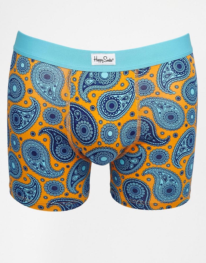 Happy Socks Paisley Printed Trunks - Blue